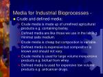 media for industrial bioprocesses