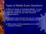 types of media exam questions