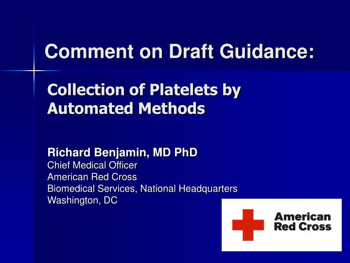 comment on draft guidance n.