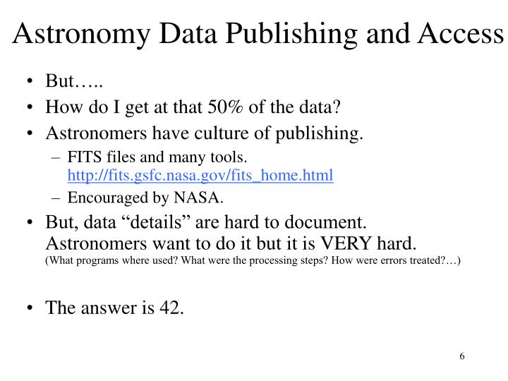 Astronomy Data Publishing and Access
