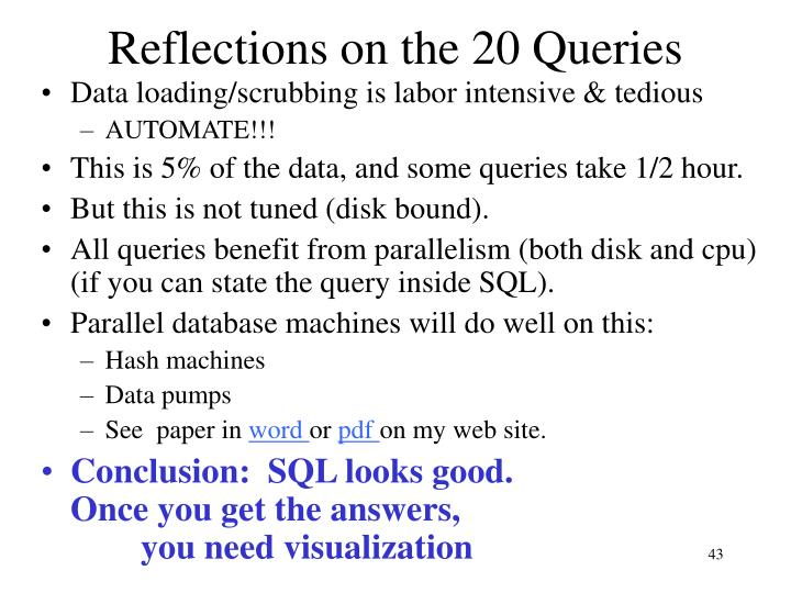 Reflections on the 20 Queries