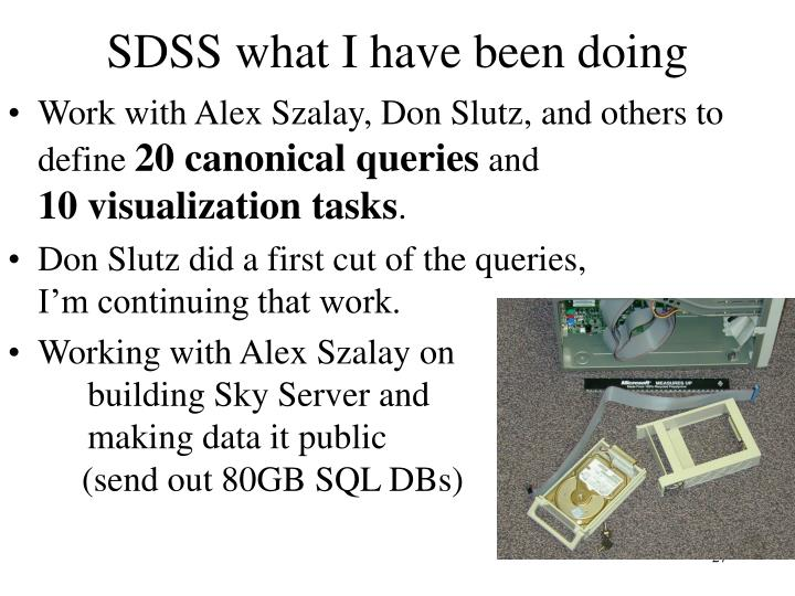 SDSS what I have been doing