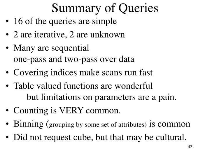 Summary of Queries