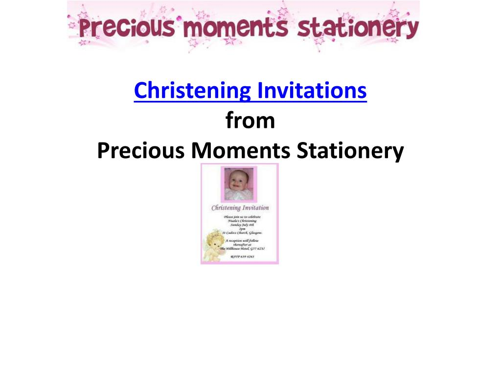 christening invitations from p recious moments s tationery l.