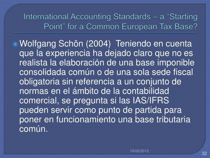 International Accounting Standards – a