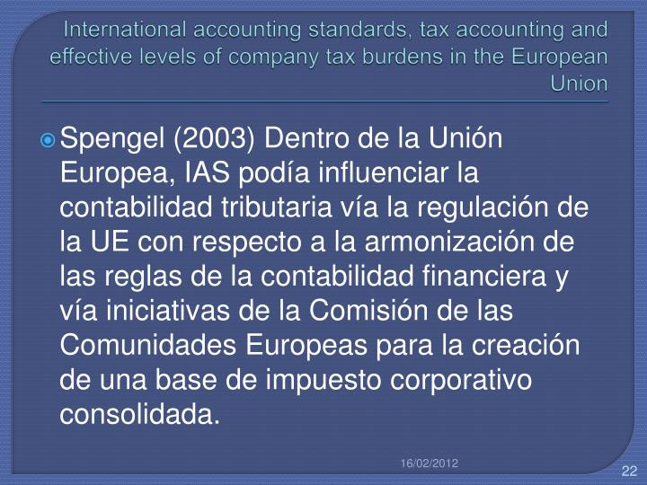 International accounting standards, tax accounting and effective levels of company tax burdens in the European Union