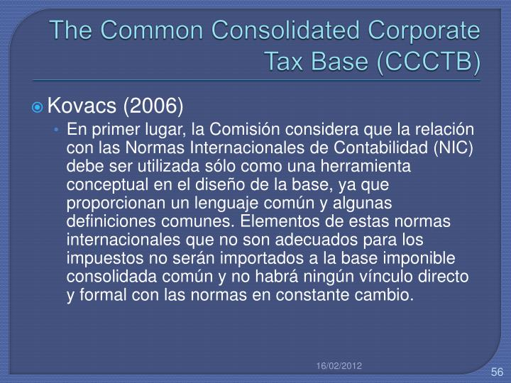 The Common Consolidated Corporate Tax Base (CCCTB)