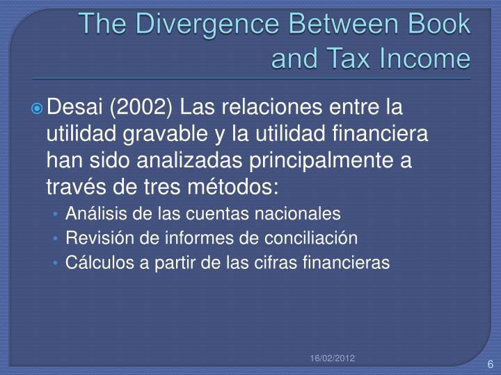 The Divergence Between Book and Tax Income