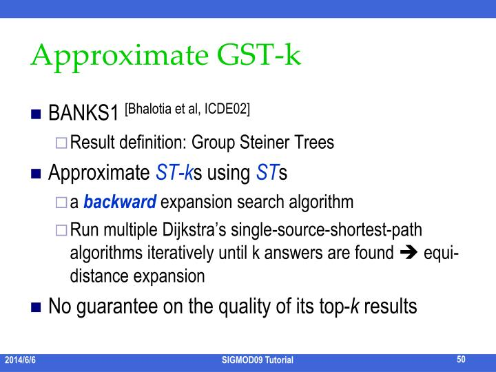 Approximate GST-k