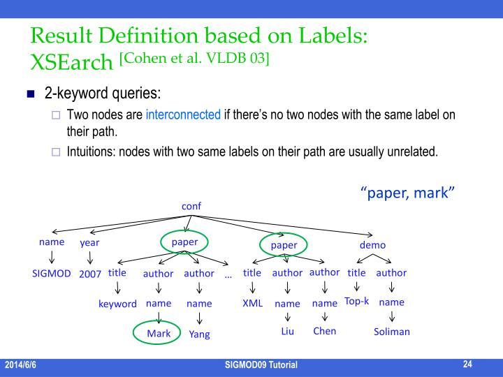 Result Definition based on Labels: