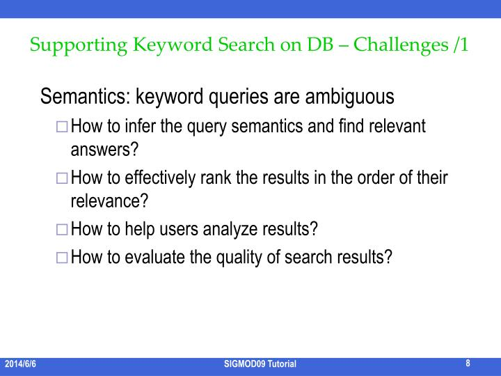 Supporting Keyword Search on DB – Challenges /1