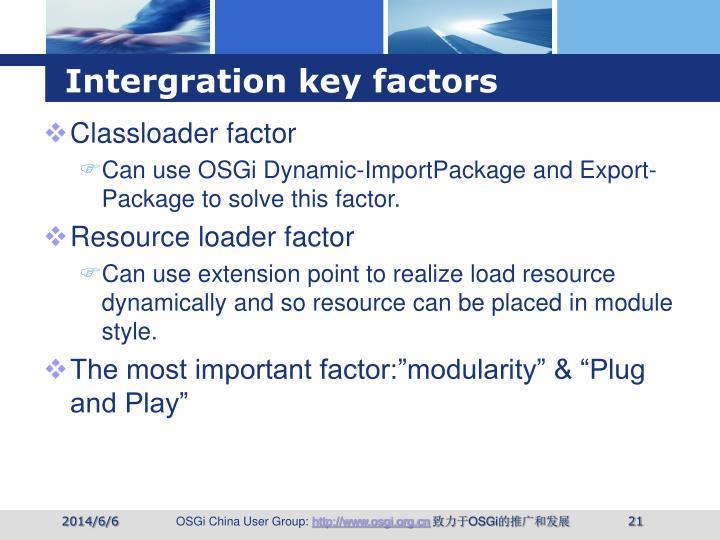 Intergration key factors