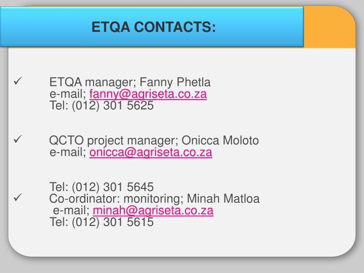 ETQA CONTACTS:
