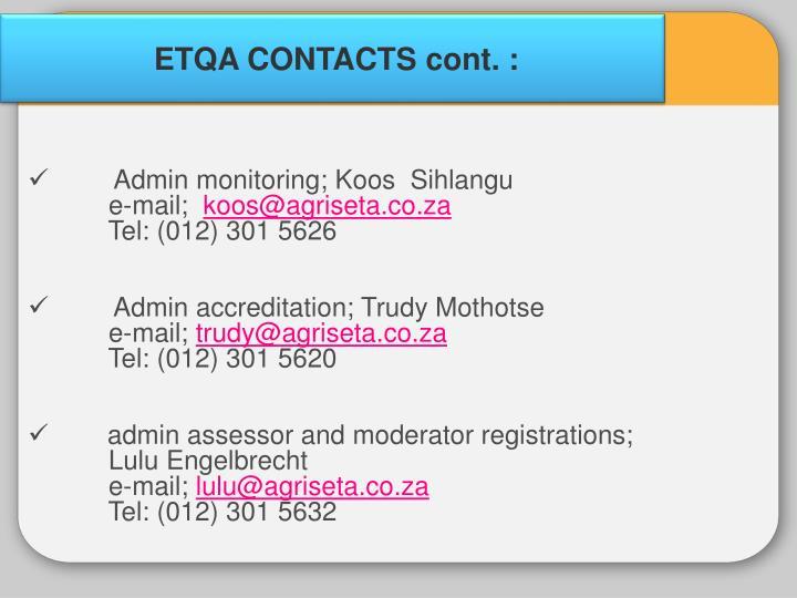 ETQA CONTACTS cont. :