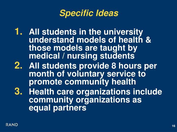 Specific Ideas