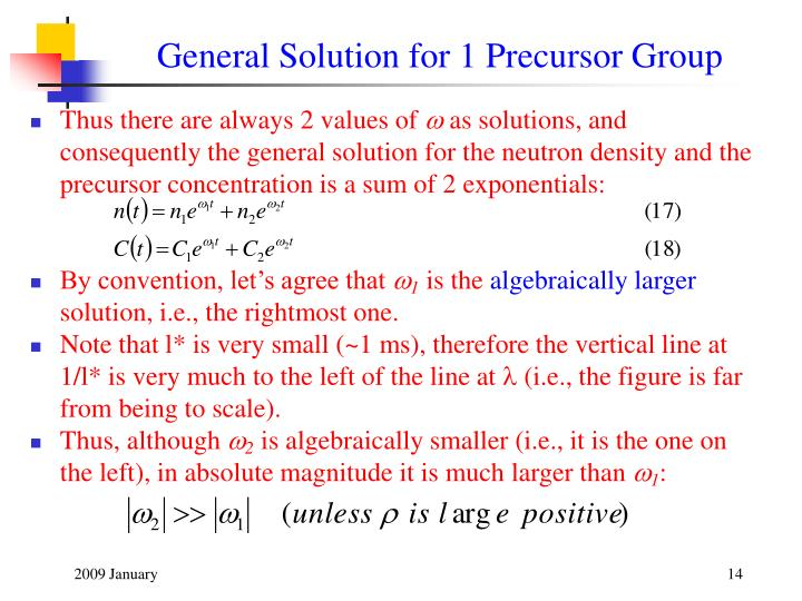General Solution for 1 Precursor Group
