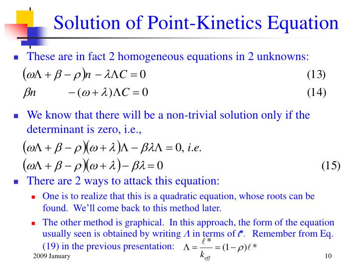 Solution of Point-Kinetics Equation