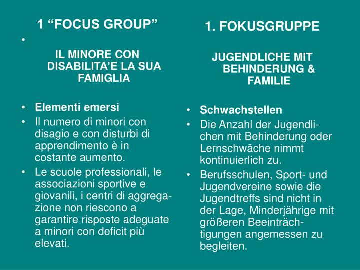 "1 ""FOCUS GROUP"""