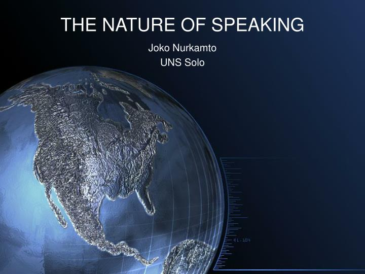 the nature of speaking n.