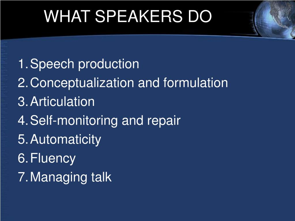 WHAT SPEAKERS DO
