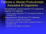 factores q afectan productividad asociados al organismo