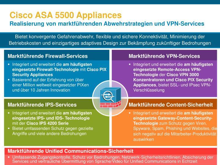 Cisco asa 5500 appliances realisierung von marktf hrenden abwehrstrategien und vpn services