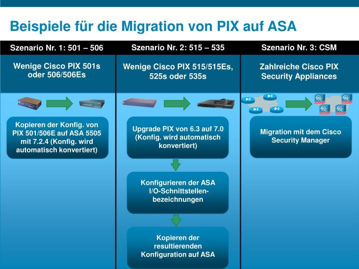 Beispiele für die Migration von PIX auf ASA