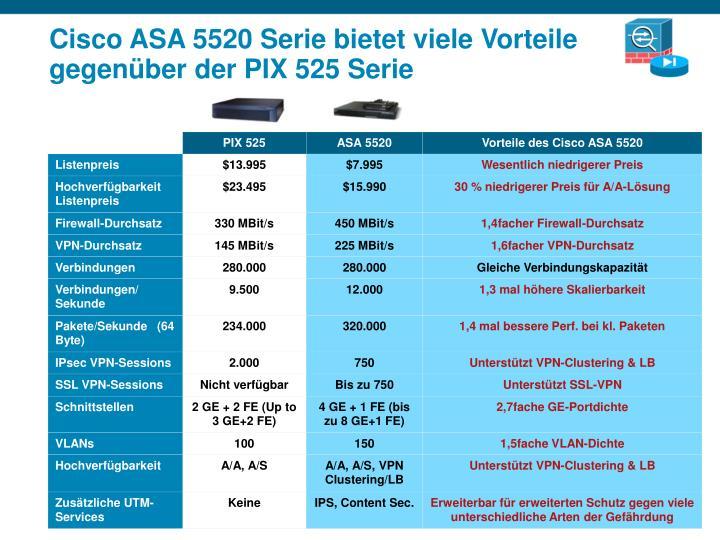 Cisco ASA 5520 Serie bietet viele Vorteile gegenüber der PIX 525 Serie