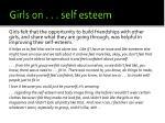 girls on self esteem