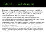 girls on skills learned