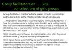 group facilitators on key contributions of girls groups