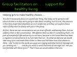 group facilitators on support for healthy living