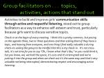 group facilitators on topics activities actions that stand out