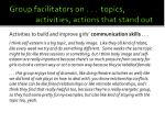 group facilitators on topics activities actions that stand out1