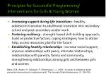 principles for successful programming interventions for girls young women