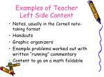 examples of teacher left side content