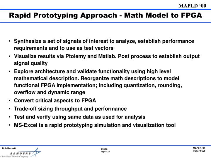 Rapid Prototyping Approach - Math Model to FPGA
