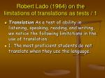 robert lado 1964 on the limitations of translations as tests 1