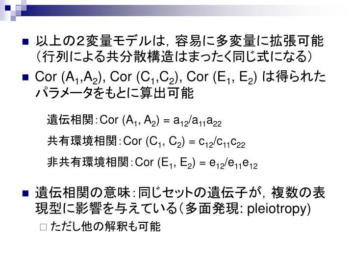 以上の2変量モデルは,容易に多変量に拡張可能(行列による共分散構造はまったく同じ式になる)