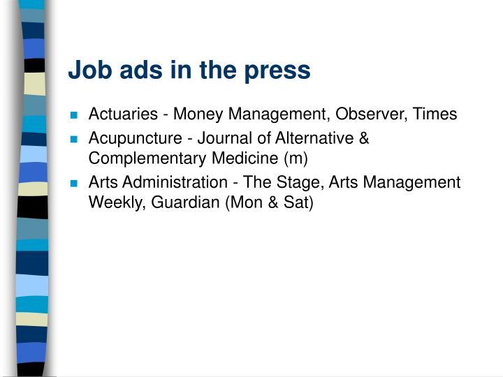 Job ads in the press