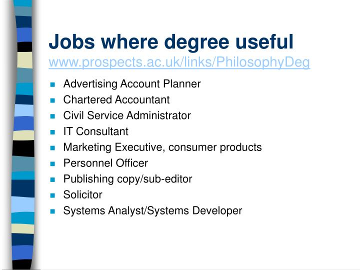 Jobs where degree useful