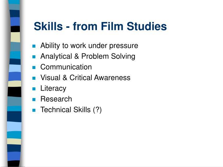 Skills - from Film Studies