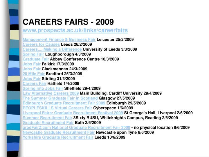 CAREERS FAIRS - 2009