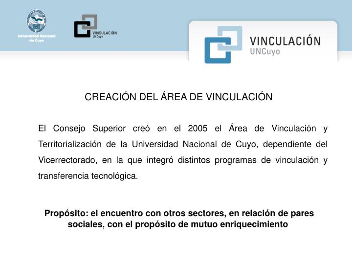 CREACIÓN DEL ÁREA DE VINCULACIÓN