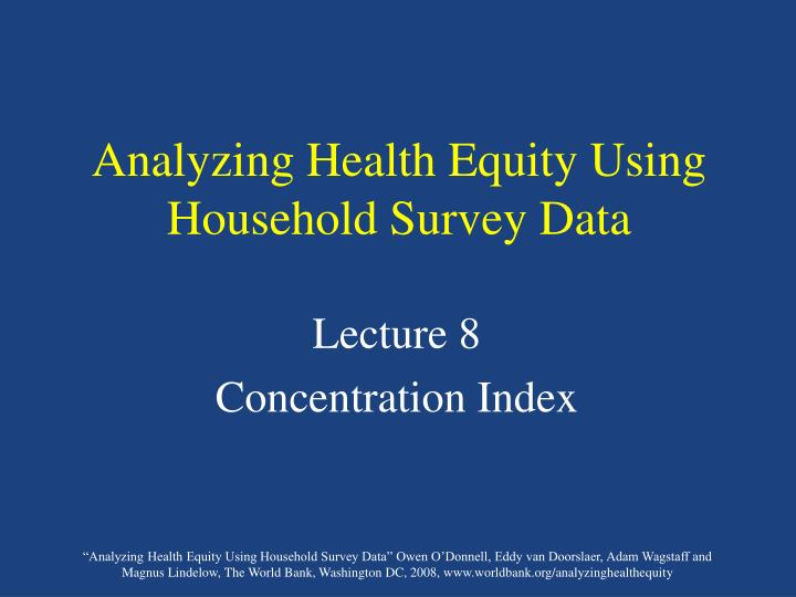 analyzing health equity using household survey data n.