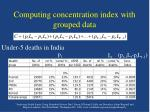 computing concentration index with grouped data