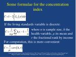 some formulae for the concentration index