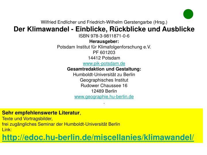 Wilfried Endlicher und Friedrich-Wilhelm Gerstengarbe (Hrsg.)