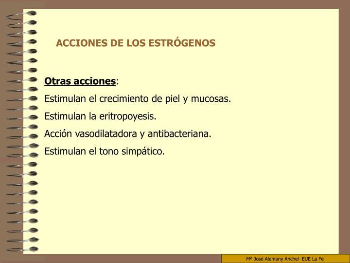 ACCIONES DE LOS ESTRÓGENOS