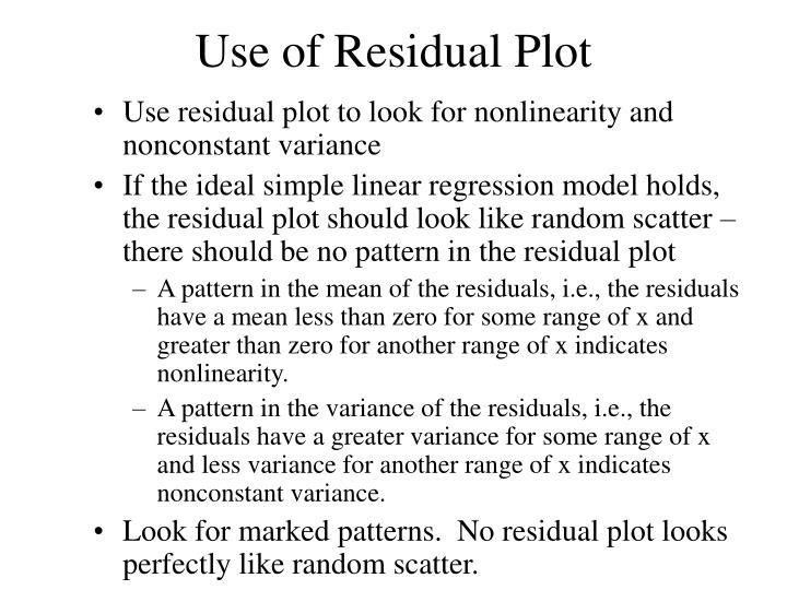 Use of Residual Plot